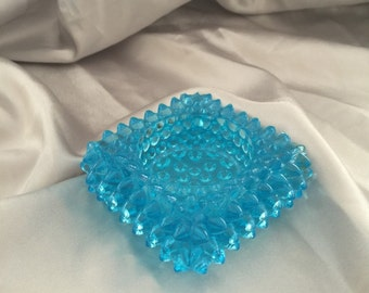 Vintage Aqua Blue Hobnail Glass T Light Holder Ashtray
