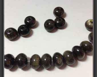 Gold obsidian beads 10x7mm