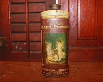 Beautiful Antique McKesson Baby Powder Tin