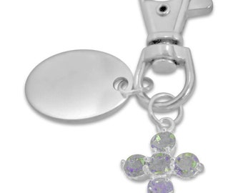 Custom engraved Cross with white stones keyring keychain in gift pouch - PL184
