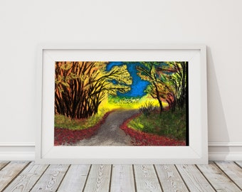 Autumn Lane Print from Pastel Drawing
