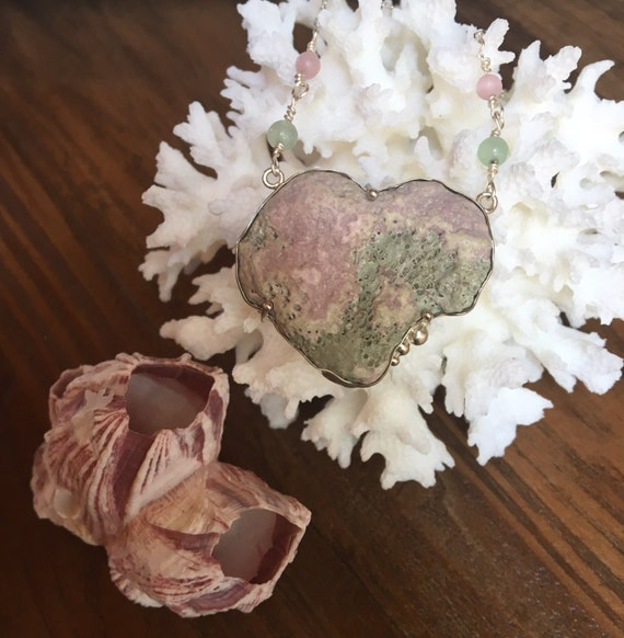 Unique Heart Shaped Coral SS Necklace