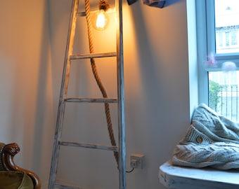 Vintage Hand-Made Lamp Standing Lamp Ladder Rope Modern Inside LAMP LADDER LIGHT