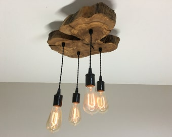 Modern Live-Edge Olive Wood Light Fixture with (4) Lights -  Rustic Industrial Chandelier*