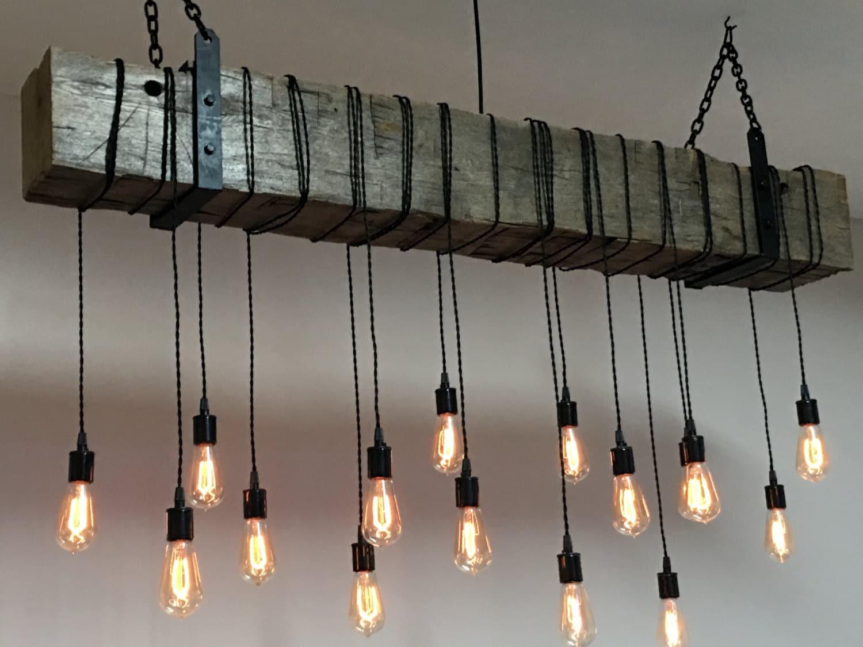 Farmhouse Light Fixture 84 Reclaimed Barn Beam With
