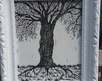 Whimsical detailed Tree in White Frame