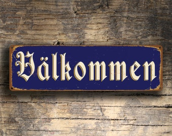 VALKOMMEN SWEDISH WELCOME Sign, Valkommen Signs, Valkommen Swedish Old World Welcome Sign, Valkommen Decor, Swedish Sign Decor, Valkommen