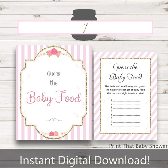 Baby Shower Games Guess The Baby Food Game Pink And Gold Baby