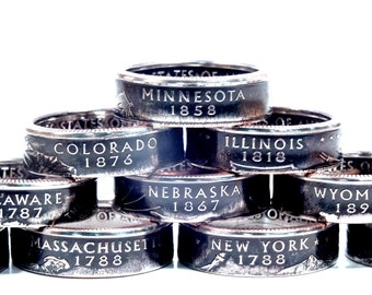 50% OFF Any State Quarter Coin Ring Size 4.5-13.5