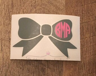 Decal- Bow Monogram Decal- Bow Decal- Monogram Decal- Personalized Decal- Car Decal