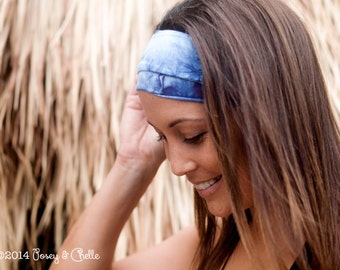 Bamboo & Organic Cotton Extra Wide Headband, Bohemian Tie-Dye Featuring Blue and Purple, Wide Dreadlock Headband