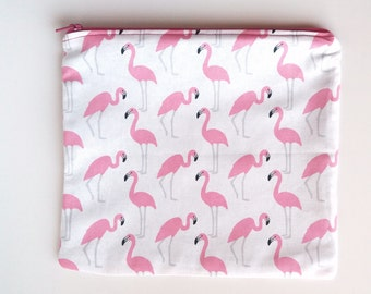 Fabric bag with zippered white flamingos pink and gray print