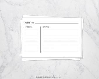 Editable Simple Recipe Cards, 4x6 card, instant PDF