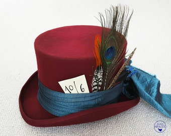 Mad Hatter Top Hat | Maroon Top Hat | Kids Steampunk Hat | Alice in Wonderland | Tea Party