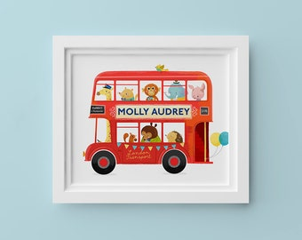 Red London Bus – 8x10in Personalized Children's Art Print