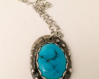 Sleeping Beauty fine silver pendant