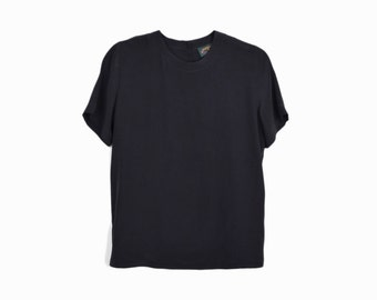 Vintage Black Silk Blouse / Short Sleeve Silk Shirt