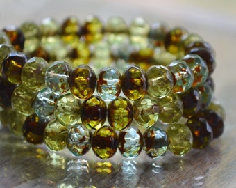 12 Czech Picasso Bead Mix- 6x4mm Faceted Rondelle- Meadow (607-12)
