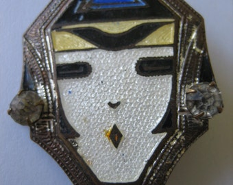 Antique Art Deco Enamel Face with Rhinestone Earrings  Brooch