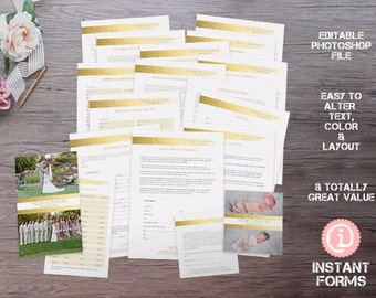 Photography Contract and Forms - IF079 - INSTANT DOWNLOAD. You'll receive 18 psd files
