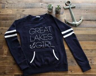 Great Lakes Girl Womens Varsity Fleece Crew Sweatshirt