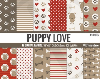 """Dog digital paper pack """"Puppy love"""". Digital papers with dogs, paws and bones patterned backgrounds, to use in scrapbooking, card making..."""