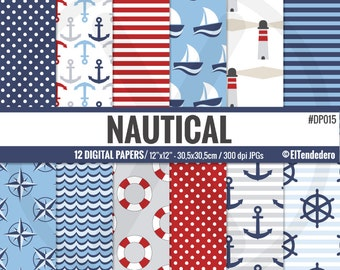 Nautical digital paper pack with nautical backgrounds, to use in card making, scrapbook..