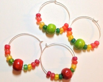 Rainbow Hoop Earrings, Colorful Beaded Earrings, Rasta, Cinco De Mayo Earrings, Light Weight Earrings
