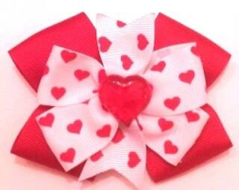 Valentines Hair Bow , Heart Hair Bow , Red Heart Bow , Stacked Hair Bow , Valentines Headband
