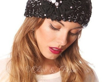 Head Wrap With Black Flower and Rhinestones