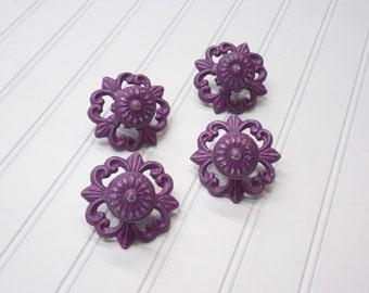 Knob/Shabby Chic Knob/Purple Knobs/Cabinet Knob/Drawer Pulls/Dresser Knobs/Nursery Decor/SSLID0177/Dresser Knob