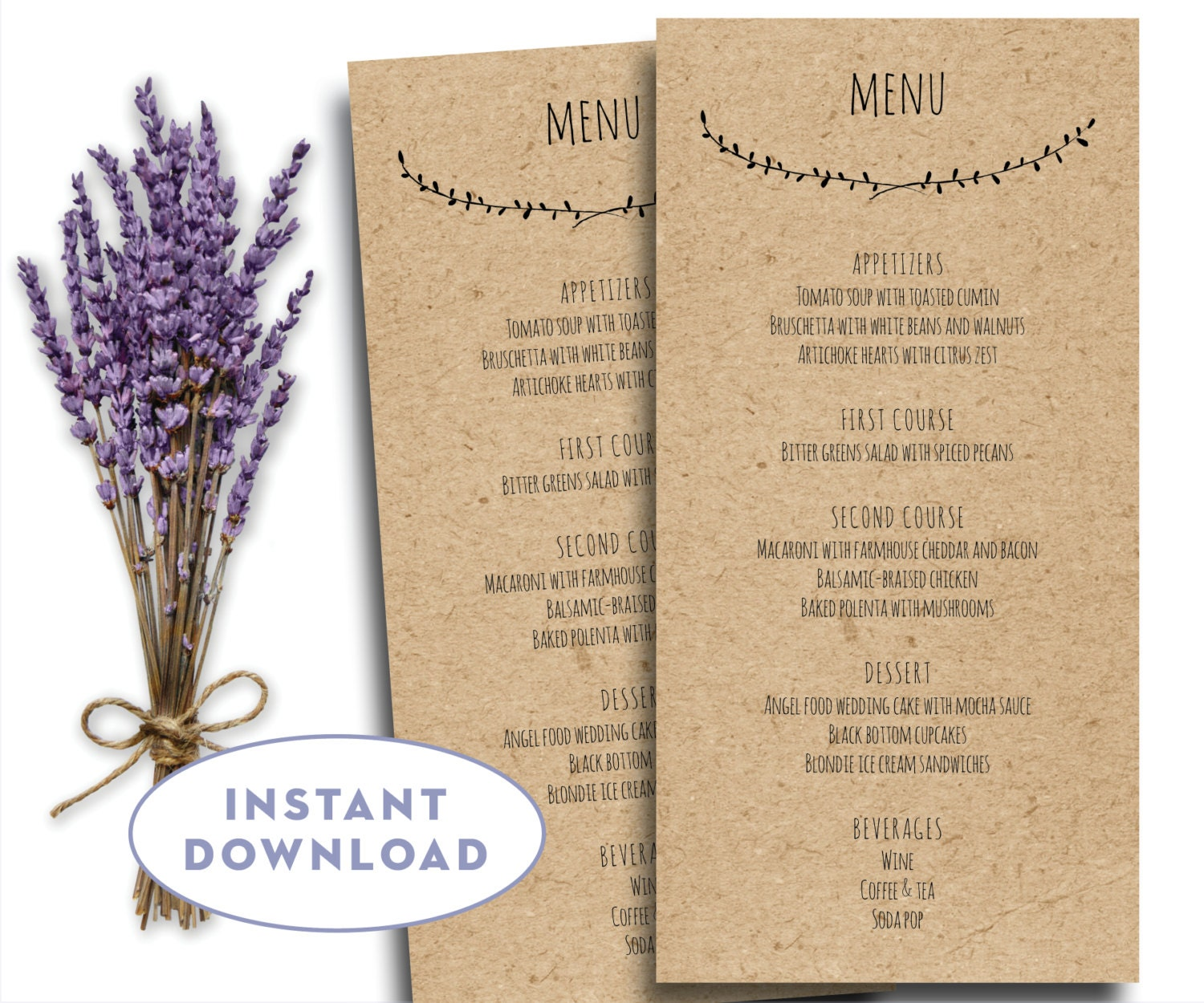 Printable wedding menu template kraft menu template 4 x 8 for Wedding menu cards templates for free