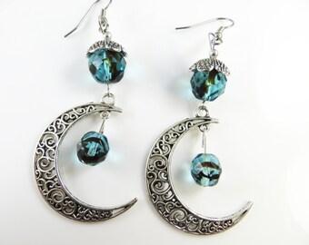 Large filigree moon earrings