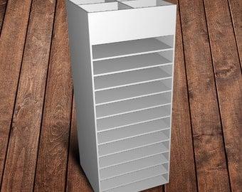 Craft Room Organization - 12 shelf display for 12x12 vinyl/paper