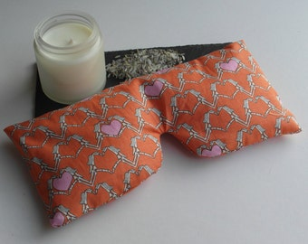 Lavender & Rice Eye Mask- zombie love hearts, removable cover, yoga, relaxation.