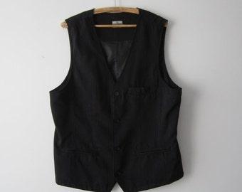 ON SALE Black Mens Vest Striped Fitted Waistcoat Extra Large Gentlemen's Vest Dark Everyday Vest