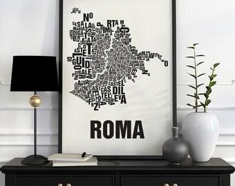 Rome Typographic Map Screen Print