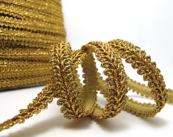 3 Yards 3/8 Inch Gold Glittery Gimp Braided Trim 6 Colors French Gimp Braided Scroll Braid Trim Decorative Embellishment Trim