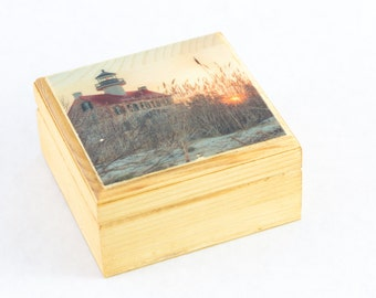 East Point Lighthouse Gift Box Wedding, Lighthouse Wedding Ring Box Wood, Small Jewelry Holder