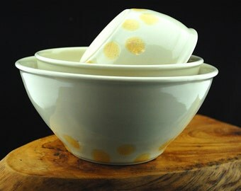 White Set of 3 general purpose nesting bowls - ready to ship!