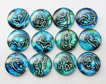12 Domed Glass Cabochon 24mm Colourful, Zodiac, Star Sign one of each