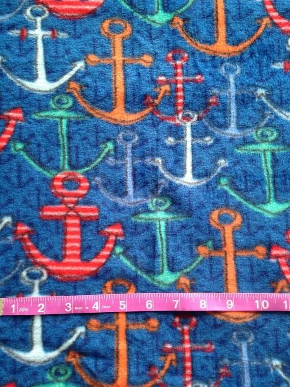 Navy blue anchor fleece fabric 1 yard ready to ship from for Spaceship fleece fabric