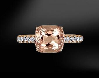 MORGANITE & DIAMOND Gold Ring