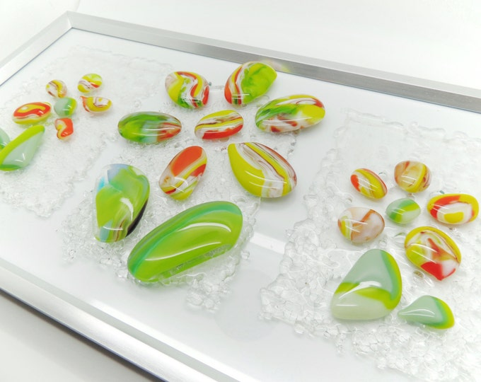 Flowers glass wall art.Tripple posies pebble picture panel Fused glass wall display feature. Wedding anniversary, housewarming birthday gift