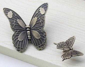 Butterfly Dresser Knobs Pulls Drawer Pull Handles / Kitchen Cabinet Door Knob Handle / Antique Bronze Cupboard Wardrobe Handle Hardware