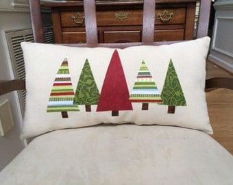 Christmas tree pillow, Christmas pillow, Christmas applique pillow