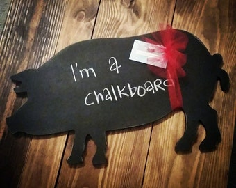 Wooden chalkboard pig silhouette. Kitchen decor. Farmhouse decor. Farm. Pig. chalkboard.