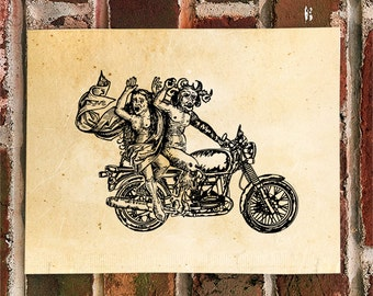 KillerBeeMoto: The Devil Rides A Motorcycle Motorcycle Print 1 of 50