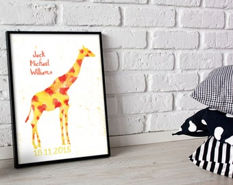 Personalised Christening New Baby Gift. Custom Giraffe Print with name and date required