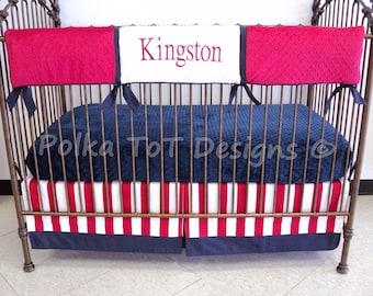 Bumperless Baby Bedding- Red, White & Blue : King